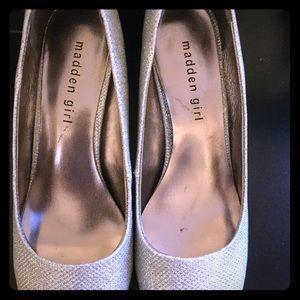 Madden Girl silver glitter heels!
